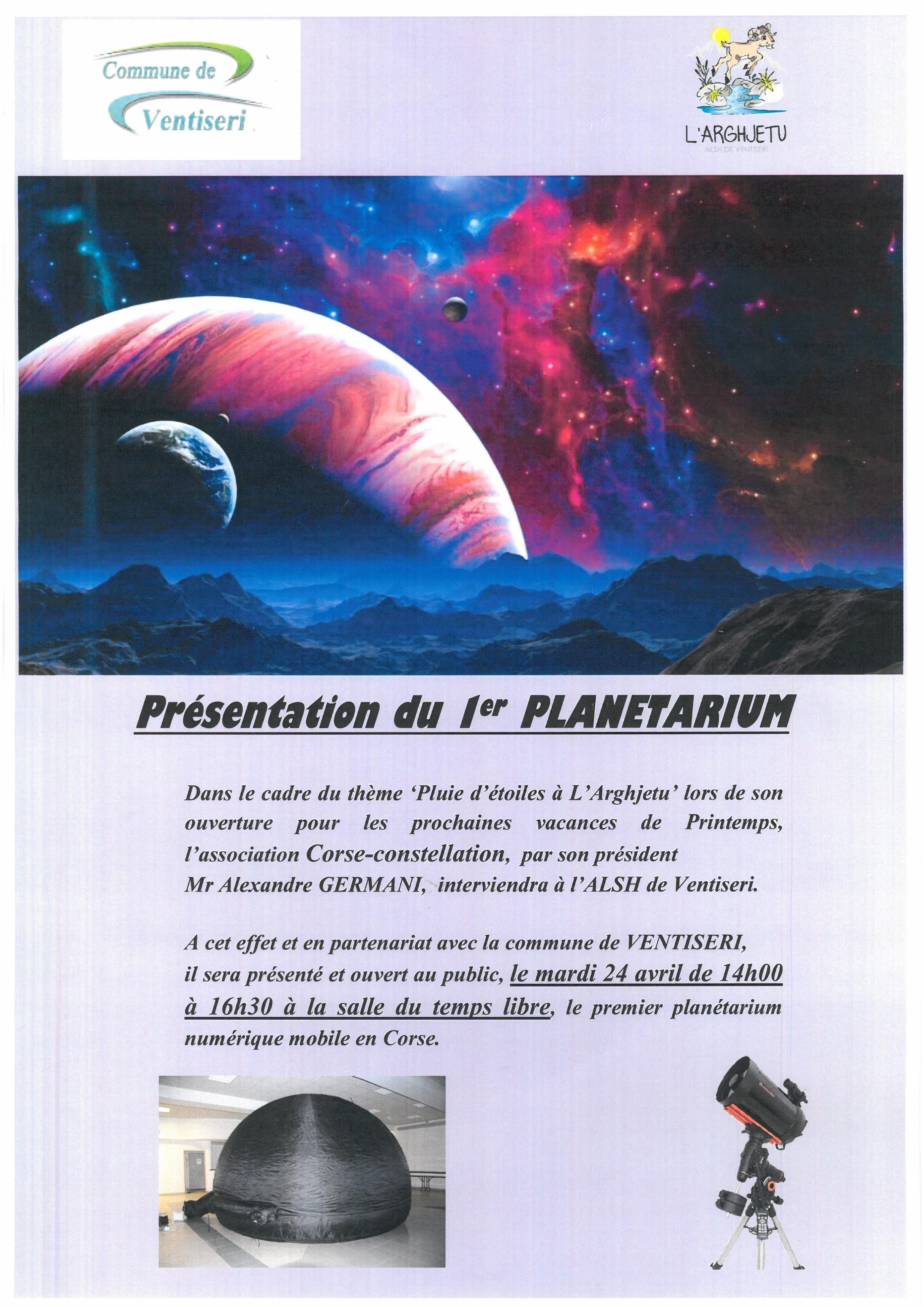 Présentation du premier planétarium mobile numérique en Corse