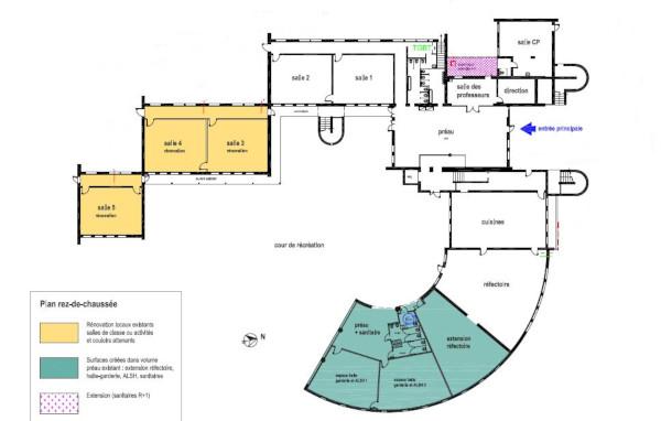 aménagement de 3 salles de classes (jaune) et ensemble garderie alsh et extension cantine (vert)