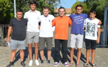 de gauche à droite : Pierre-Marie Antonini et Théo Dechavaille (ASVENTISERI XV), Maximilien Combette, Jean-Raphaël Pinet et Viny Barthelat (JUDO CLUB TRAVO VENTISERI) Francisco Goncalves (COSTA SERENA HAND BALL)